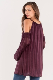 Miss Me Plum Cold-Shoulder Top - Front full body