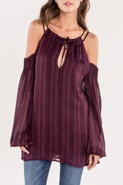 Miss Me Plum Cold-Shoulder Top - Product Mini Image