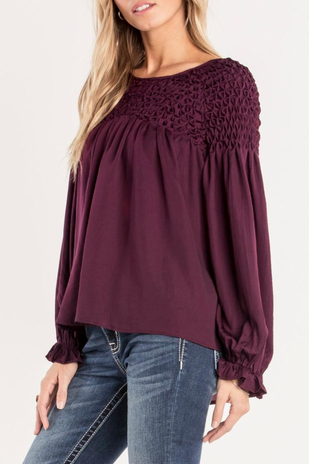 Miss Me Plum Ruffle Top - Side Cropped Image