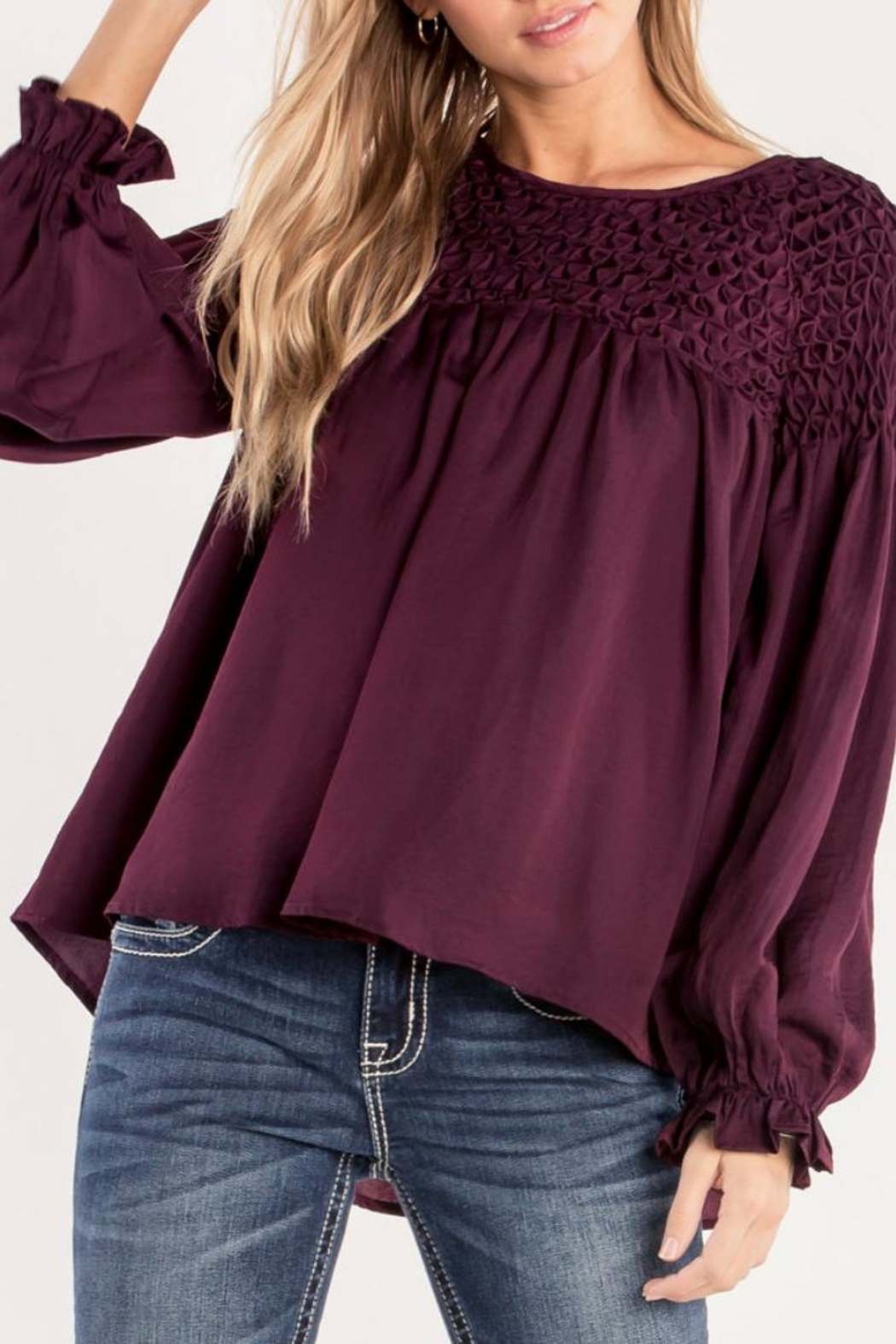 Miss Me Plum Ruffle Top - Front Cropped Image