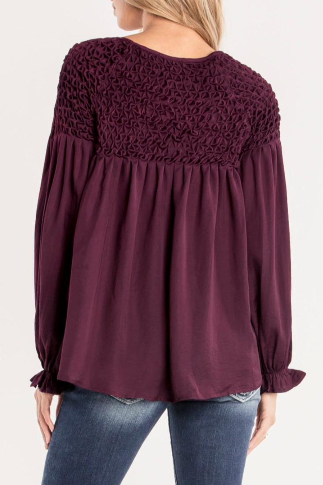 Miss Me Plum Ruffle Top - Front Full Image
