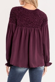 Miss Me Plum Ruffle Top - Front full body