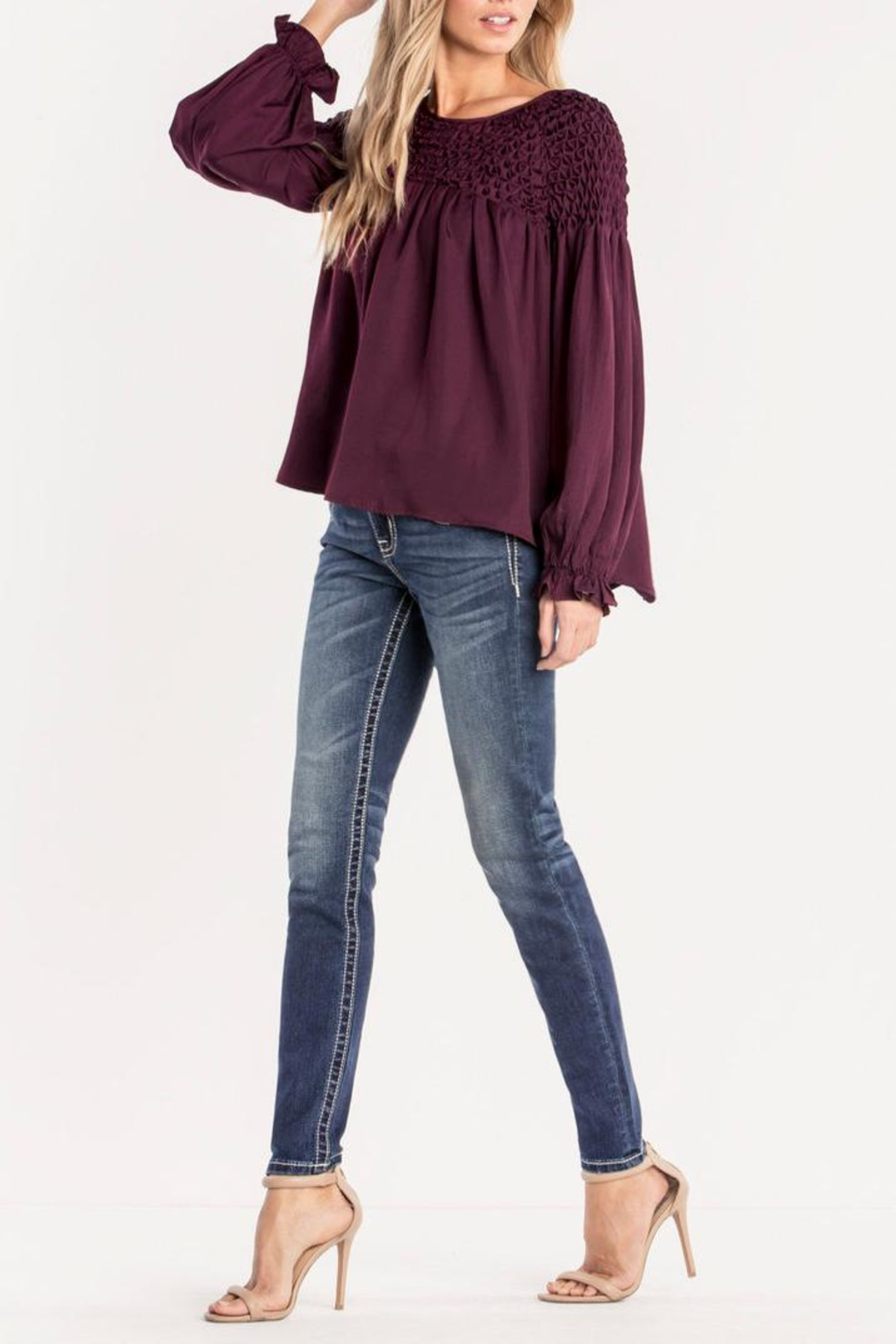 Miss Me Plum Ruffle Top - Back Cropped Image