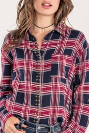 Miss Me Red Studded-Plaid Top - Front full body