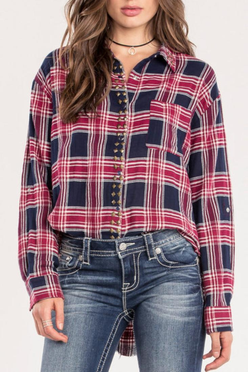 Miss Me Red Studded-Plaid Top - Main Image