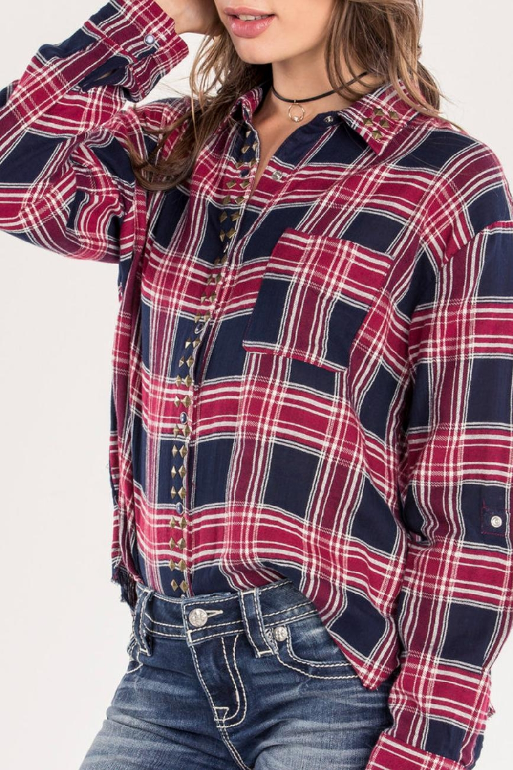 Miss Me Red Studded-Plaid Top - Back Cropped Image