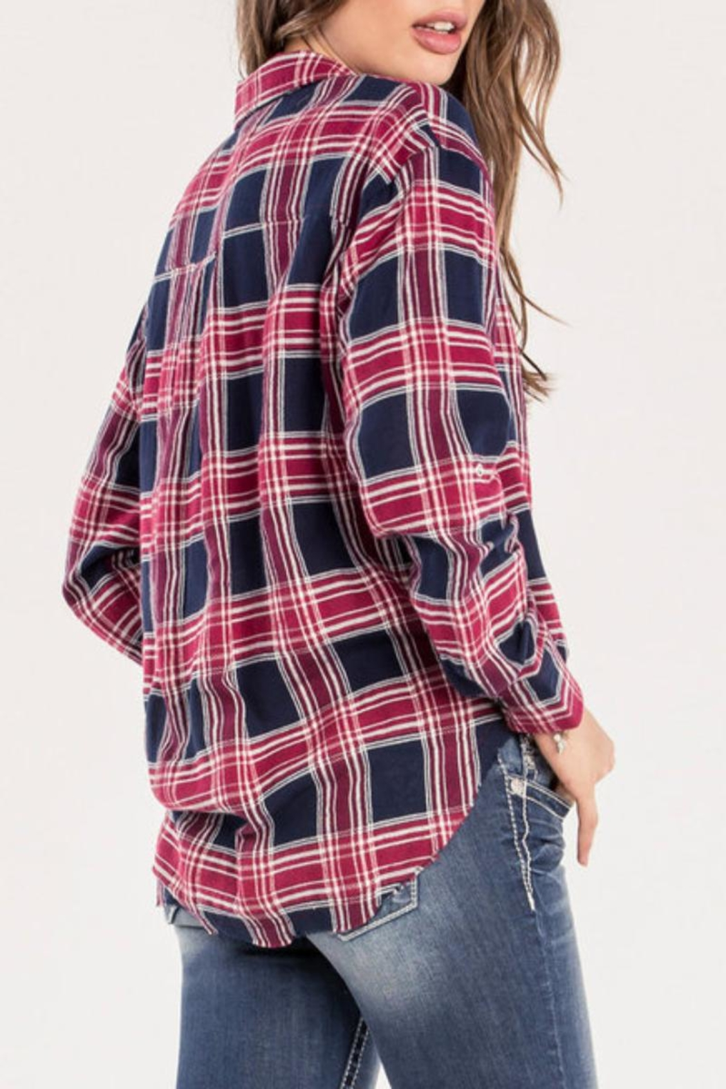 Miss Me Red Studded-Plaid Top - Side Cropped Image