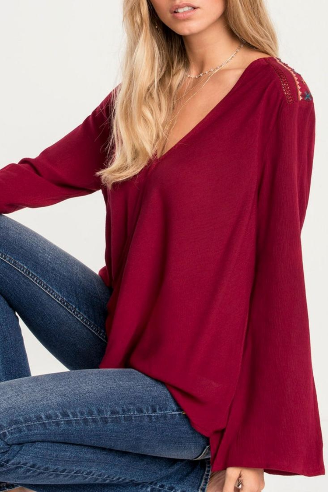 Miss Me Red Swing Blouse - Back Cropped Image
