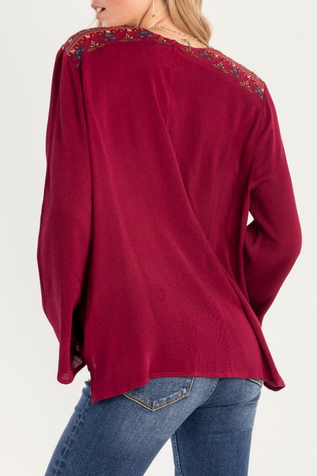 Miss Me Red Swing Blouse - Side Cropped Image