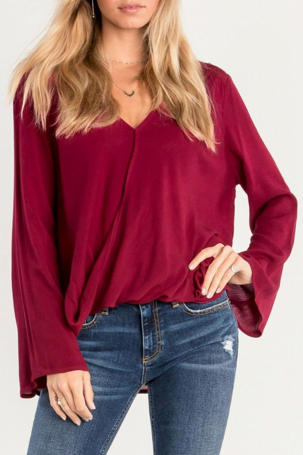 Miss Me Red Swing Blouse - Front Full Image