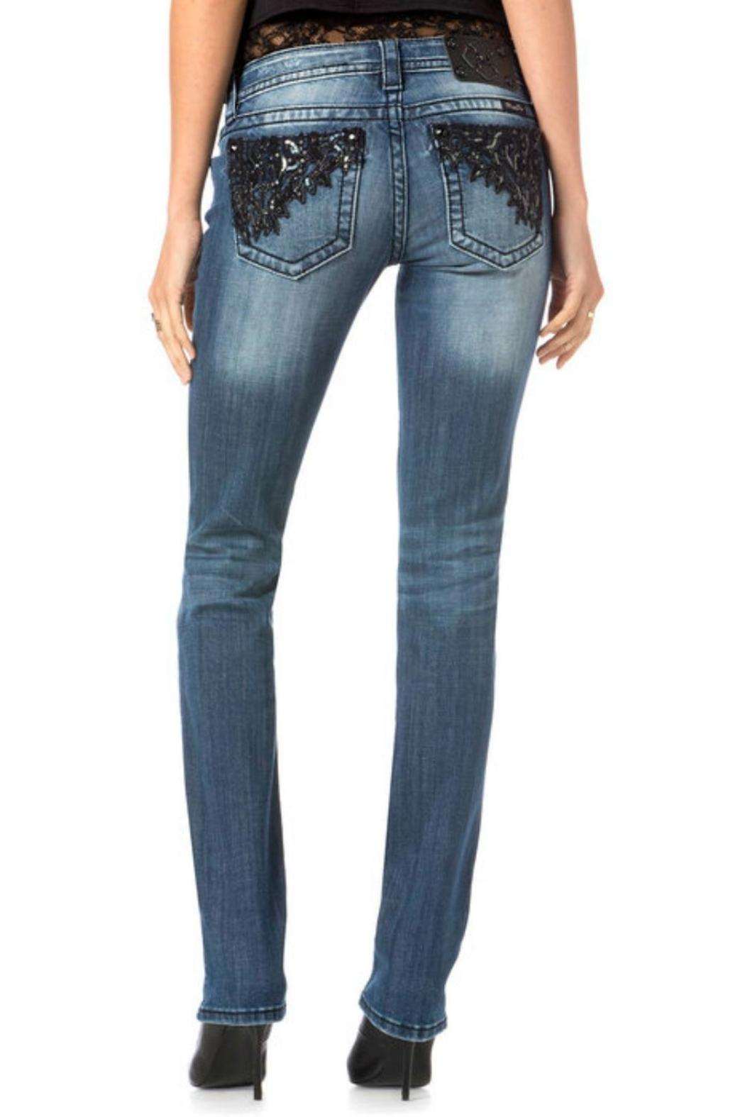 Miss Me Romance Straight Jeans - Back Cropped Image
