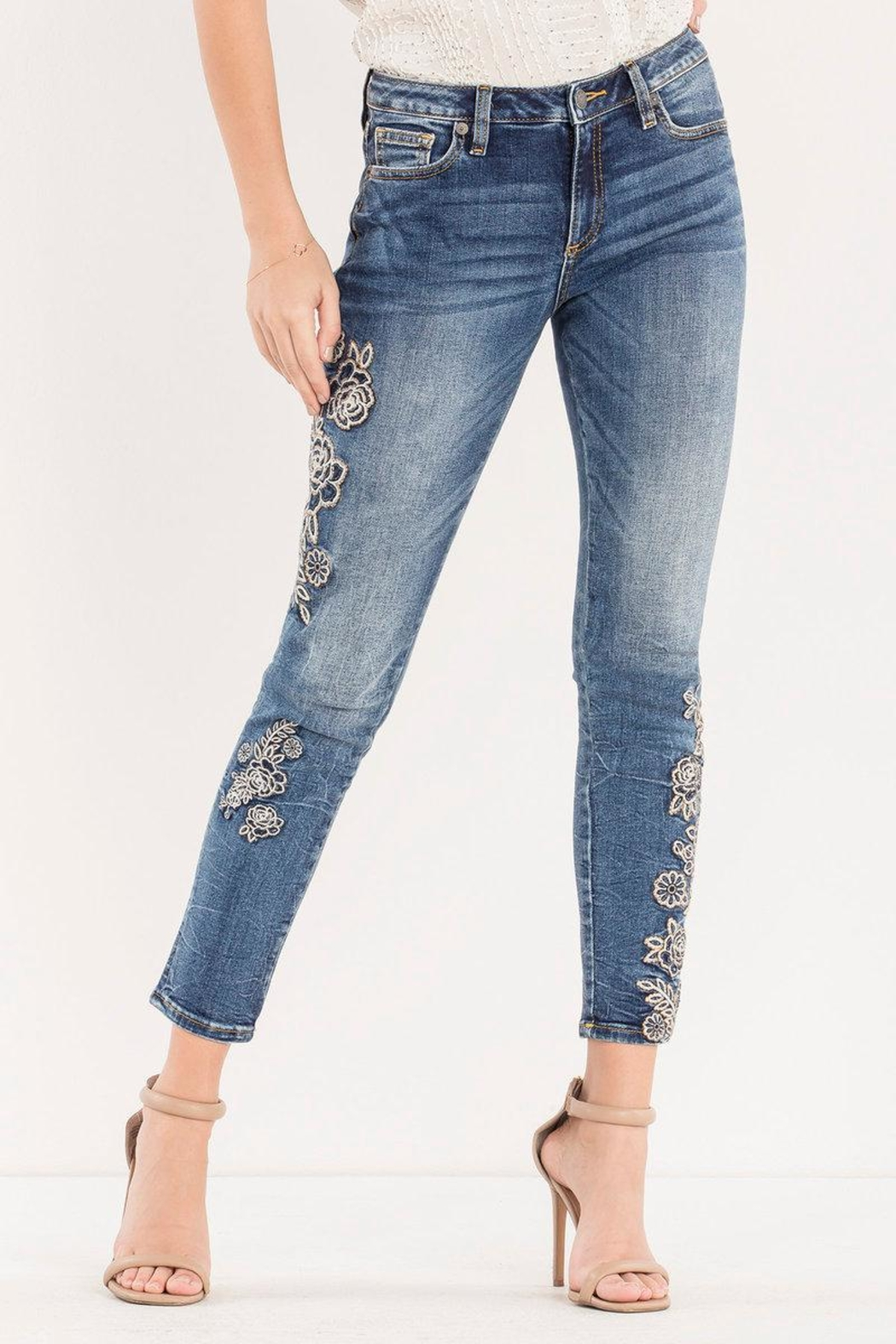 Miss Me Rose-Embroidered Midrise Ankle-Skinny - Main Image