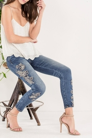 Miss Me Rose-Embroidered Midrise Ankle-Skinny - Back cropped