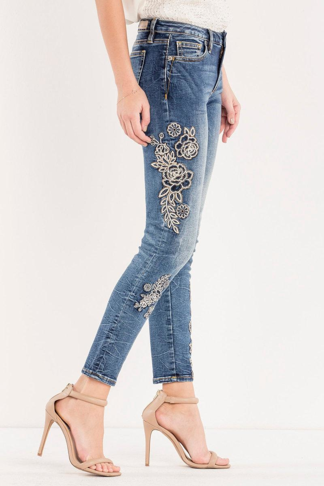 Miss Me Rose-Embroidered Midrise Ankle-Skinny - Front Full Image