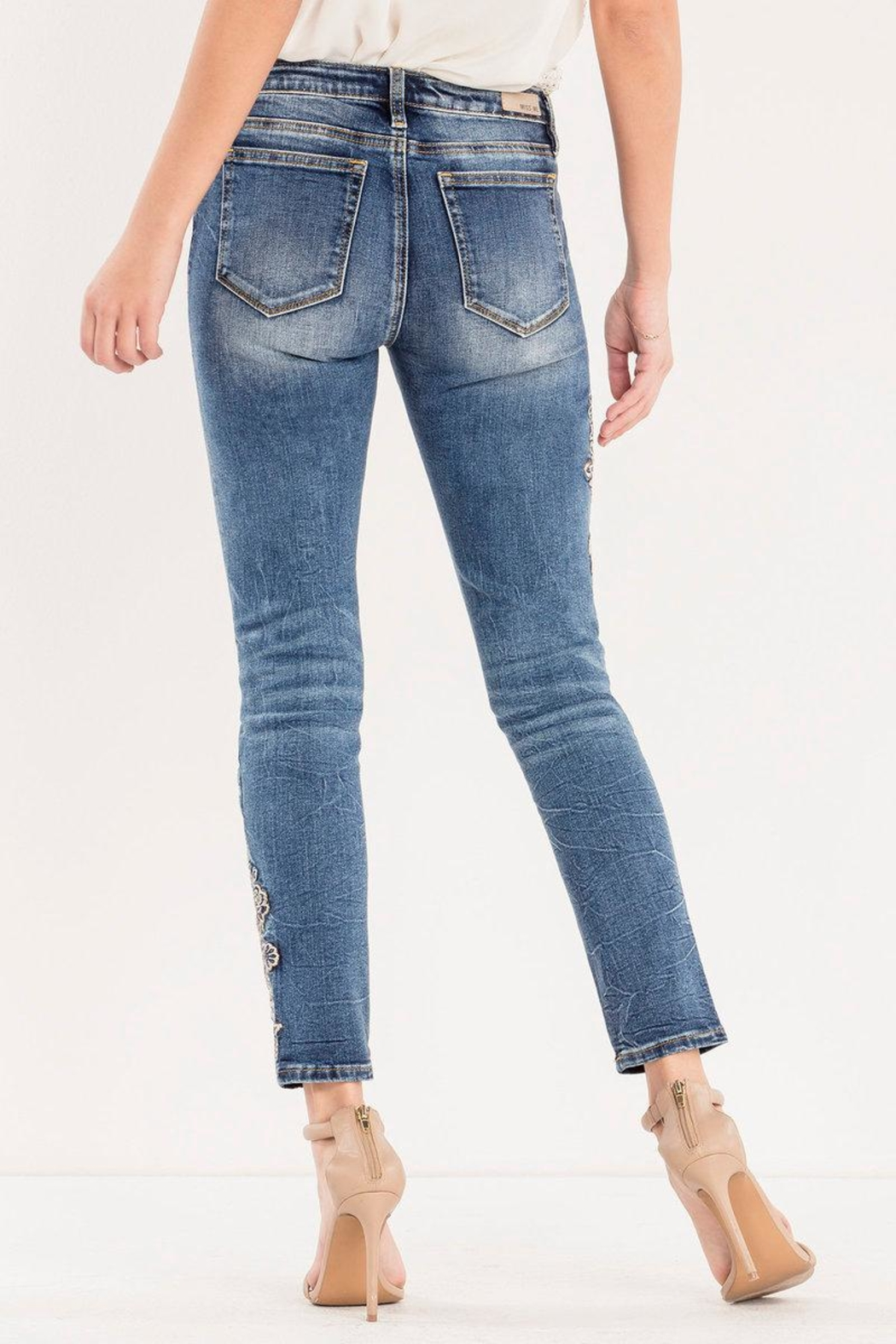 Miss Me Rose-Embroidered Midrise Ankle-Skinny - Side Cropped Image