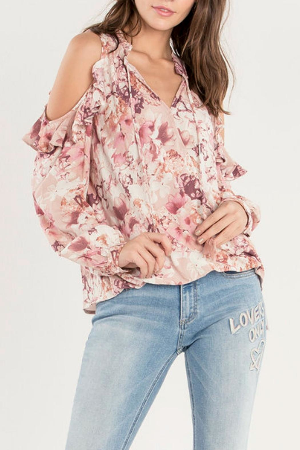 Miss Me Ruffle Cold-Shoulder Top - Main Image