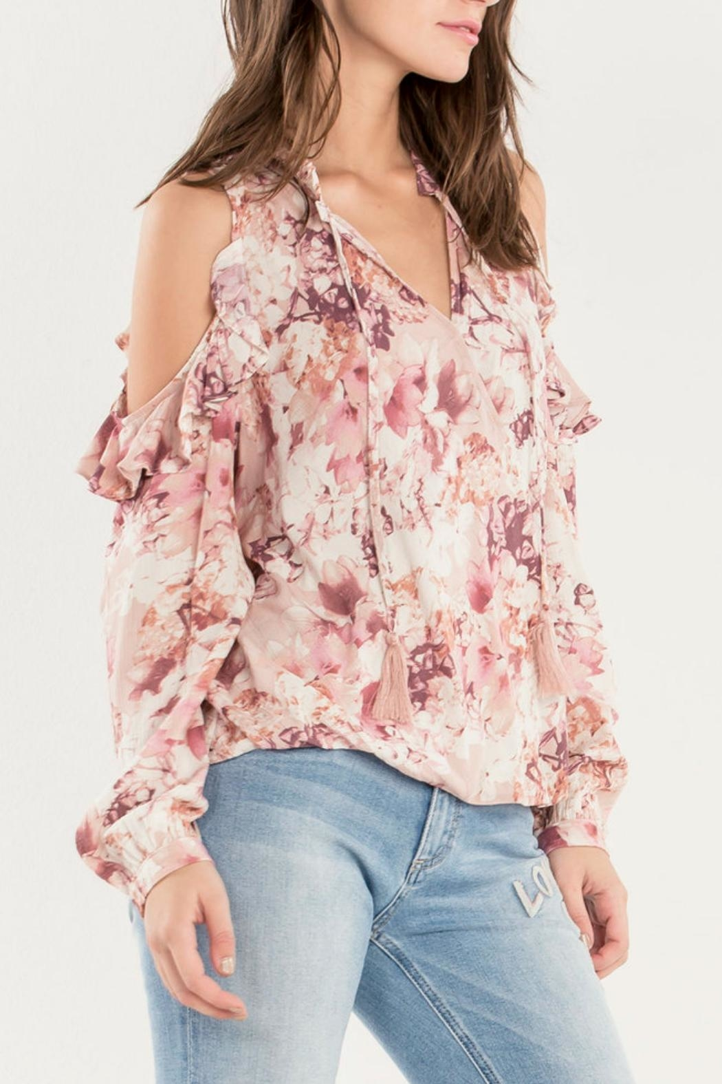 Miss Me Ruffle Cold-Shoulder Top - Side Cropped Image