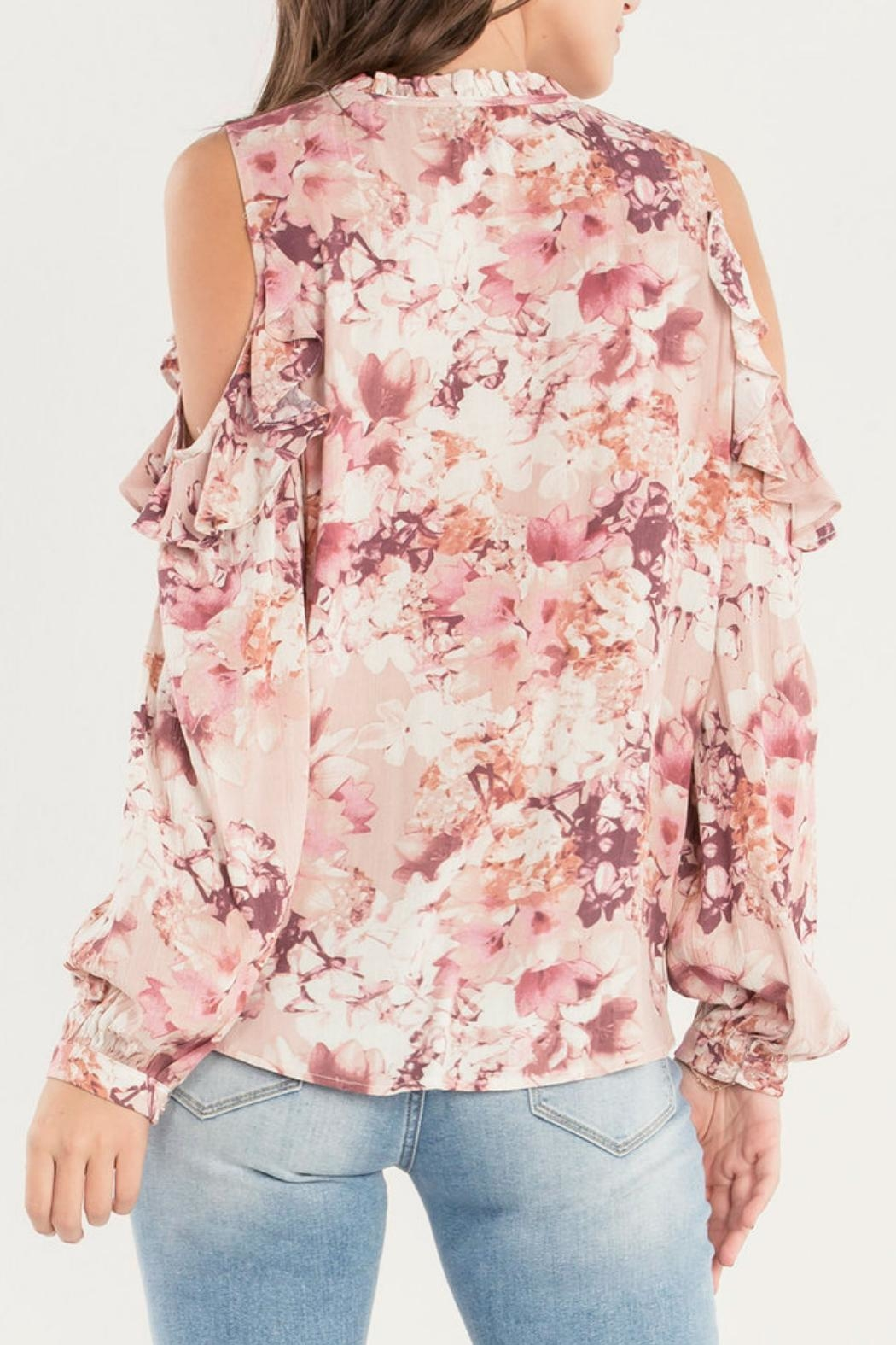 Miss Me Ruffle Cold-Shoulder Top - Front Full Image