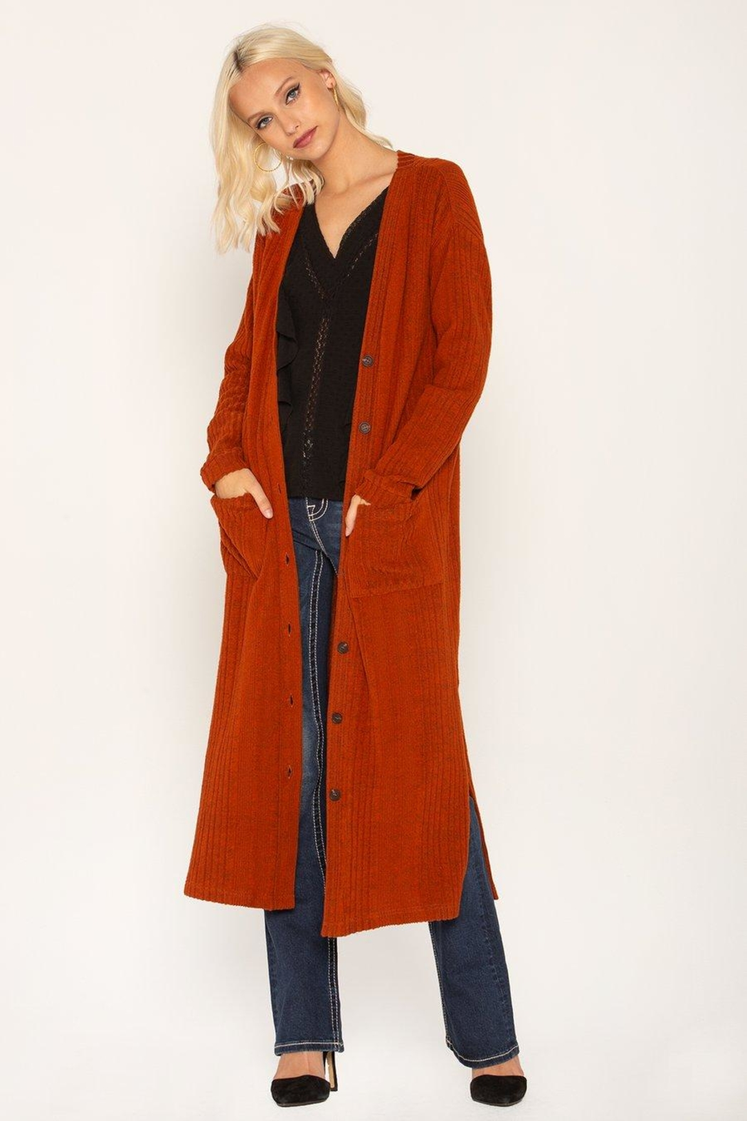 Miss Me Rust Ribbed Cardi - Main Image