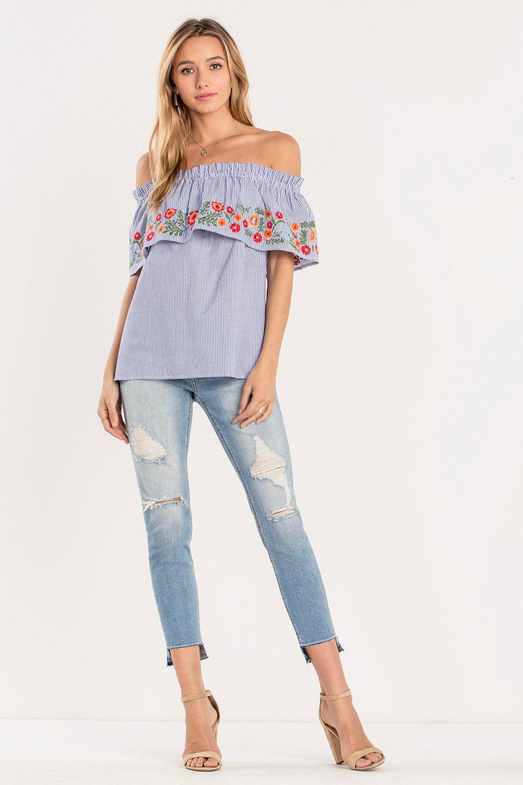 Miss Me Striped Floral Top - Side Cropped Image