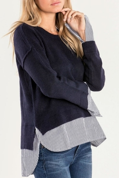 Shoptiques Product: Mock Layer Navy Sweater