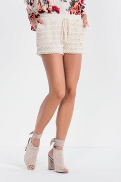 Miss Me Taupe Crochet Shorts - Product List Image