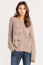 Miss Me Taupe Distressed Sweater - Product Mini Image