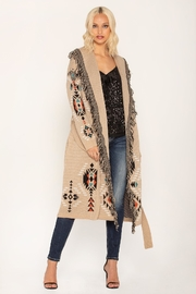 Miss Me Taupe Tribal Cardi - Front cropped