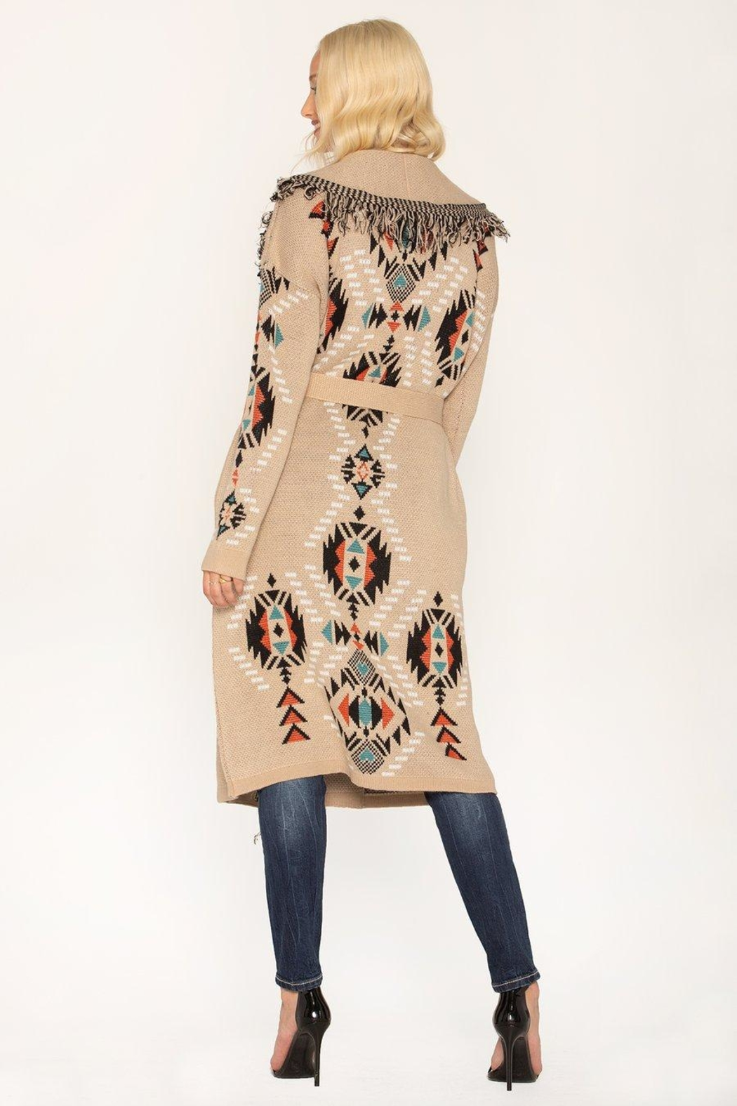 Miss Me Taupe Tribal Cardi - Front Full Image