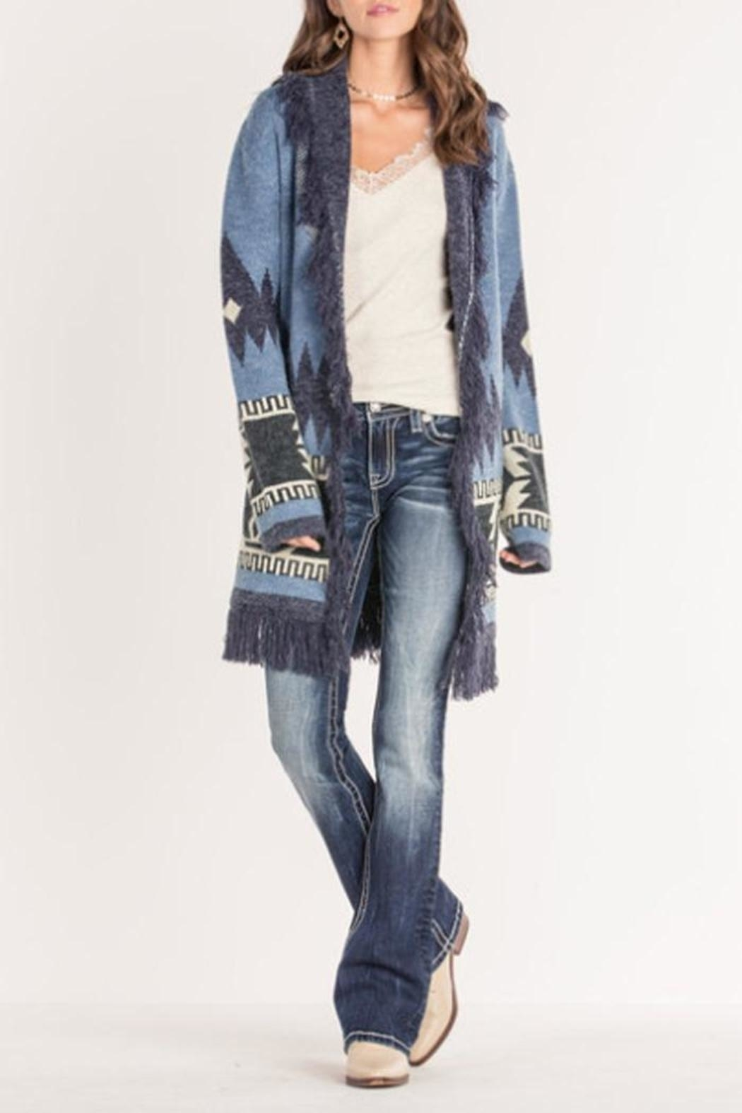 Miss Me Tribal Fringe Cardigan - Front Cropped Image