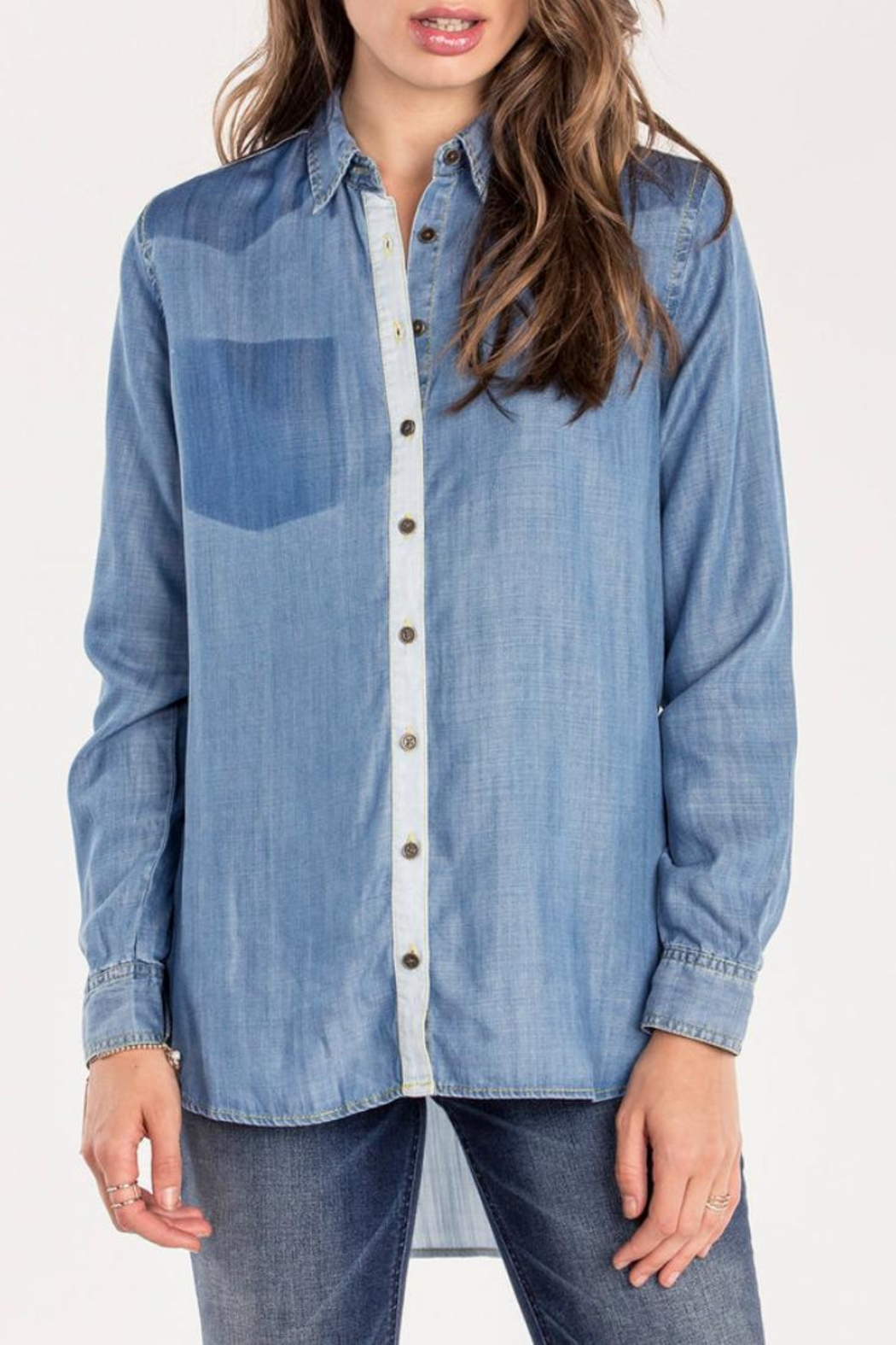 Miss Me Two Tone Chambray Top - Main Image