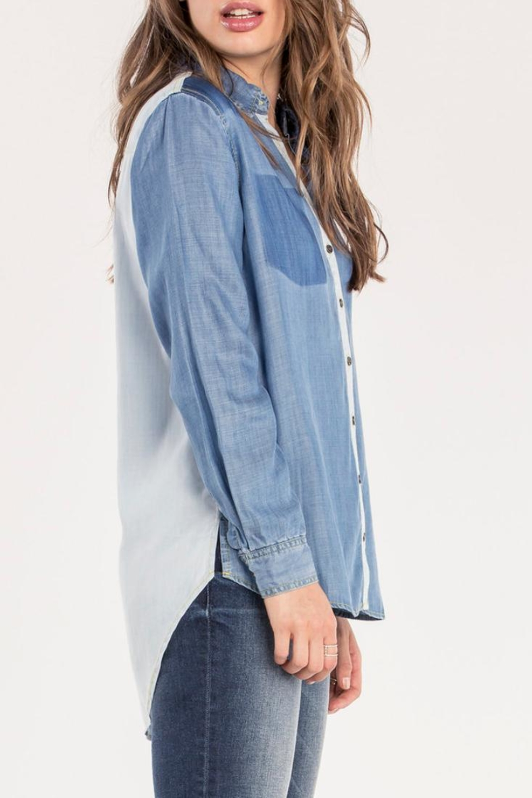 Miss Me Two Tone Chambray Top - Front Full Image