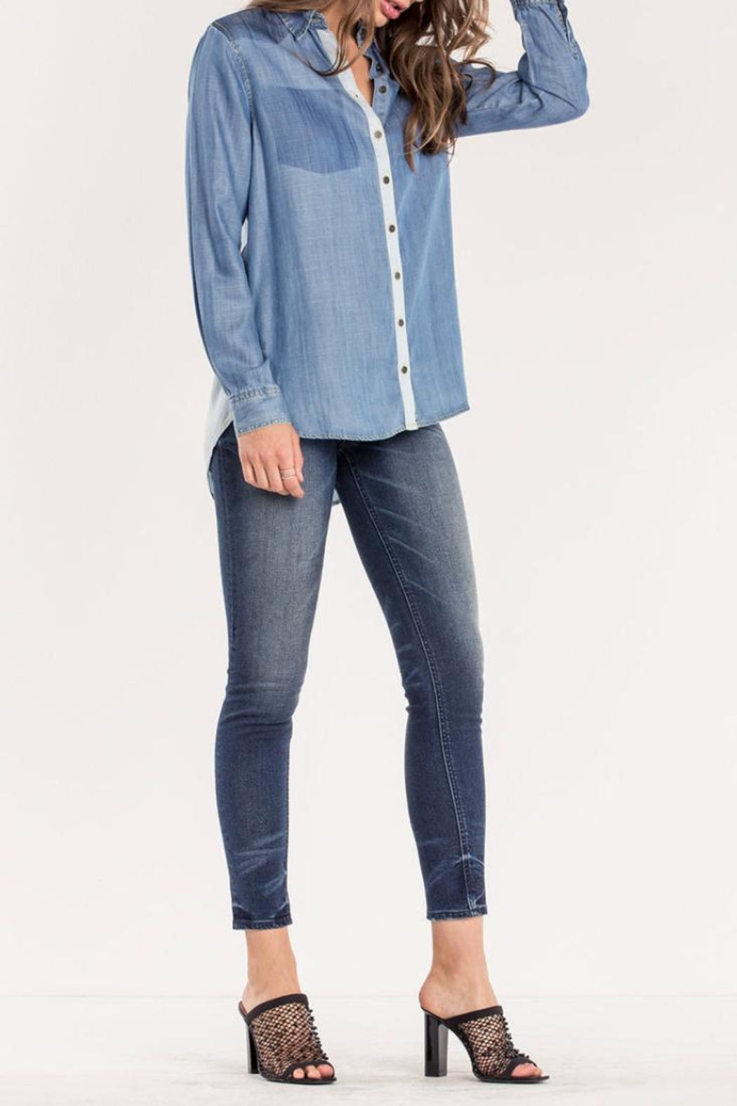 Miss Me Two Tone Chambray Top - Back Cropped Image