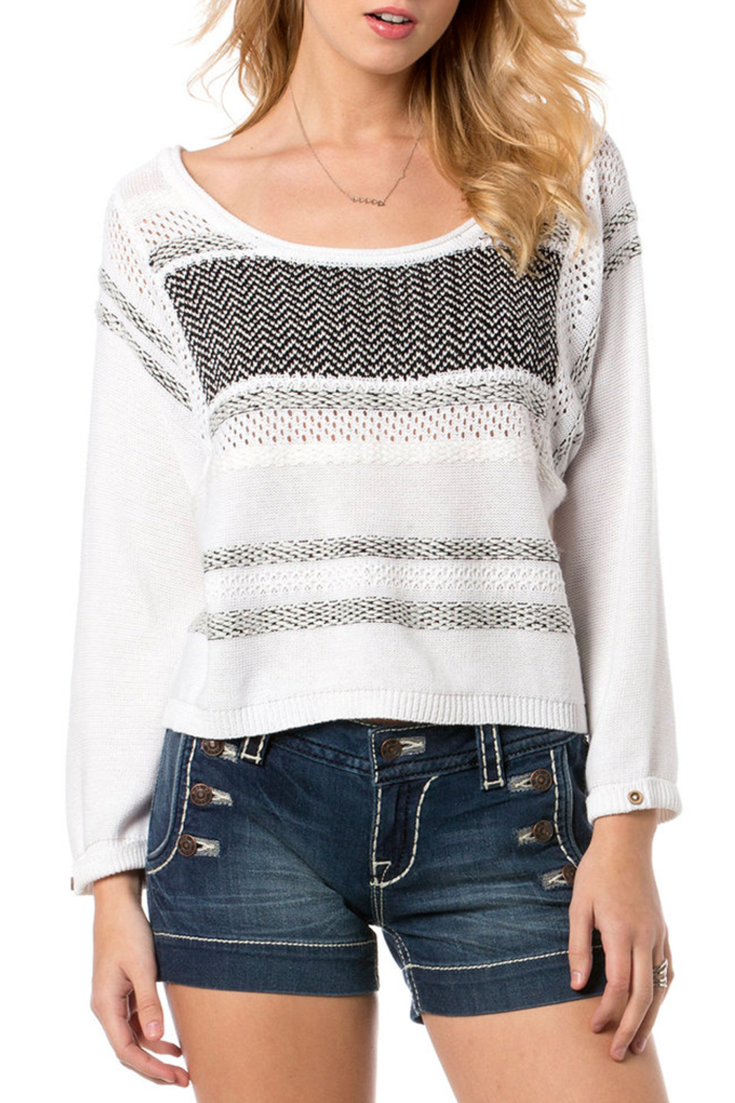 Miss Me White and Black Knit Sweater - Main Image