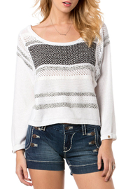 Miss Me White and Black Knit Sweater - Front cropped