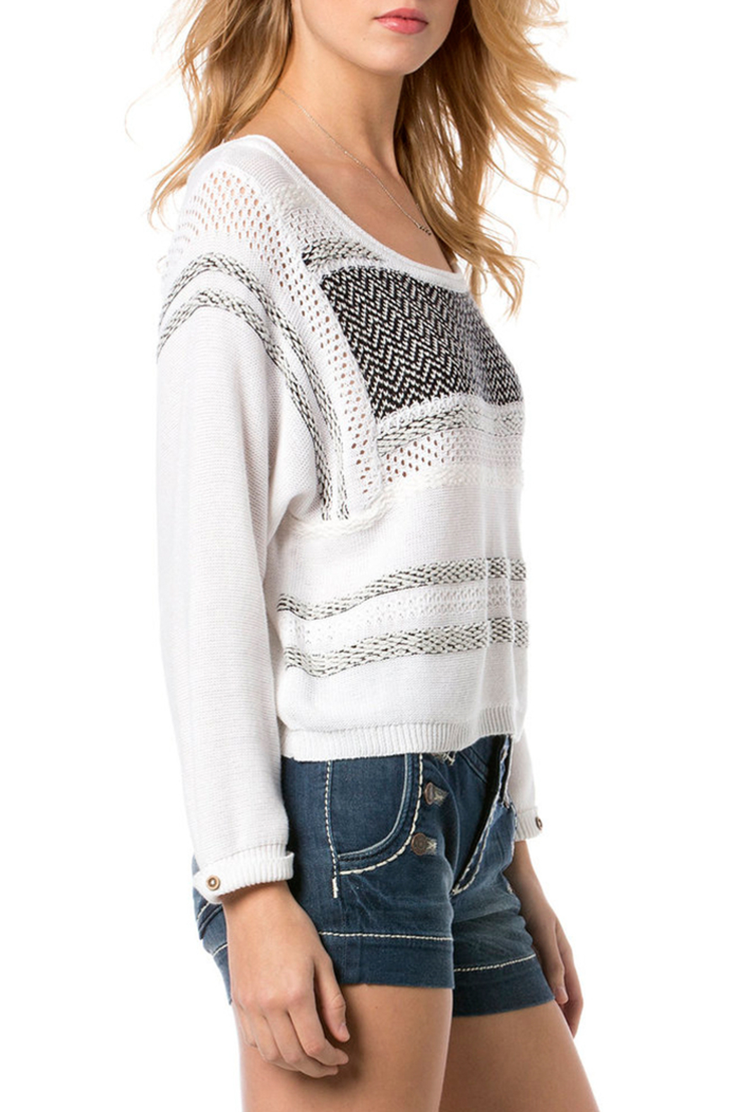 Miss Me White and Black Knit Sweater - Side Cropped Image