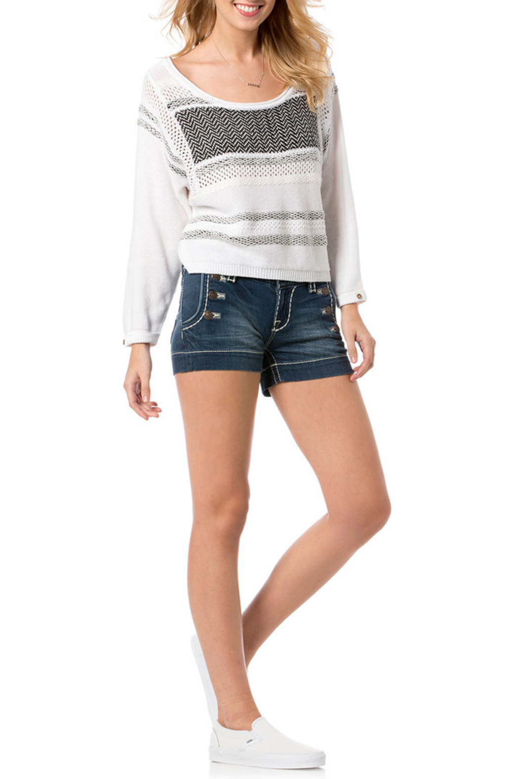 Miss Me White and Black Knit Sweater - Front Full Image