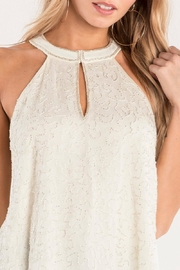 Miss Me White Beaded-Keyhole Blouse - Other