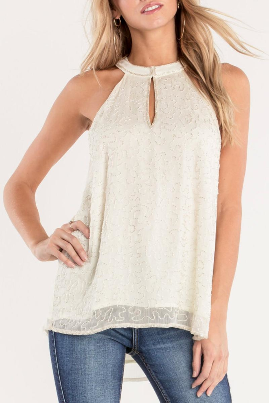 Miss Me White Beaded-Keyhole Blouse - Main Image