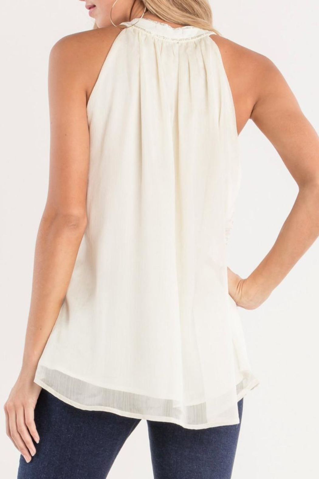 Miss Me White Beaded-Keyhole Blouse - Side Cropped Image