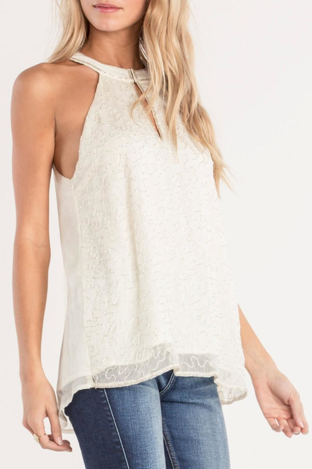 Miss Me White Beaded-Keyhole Blouse - Front Full Image