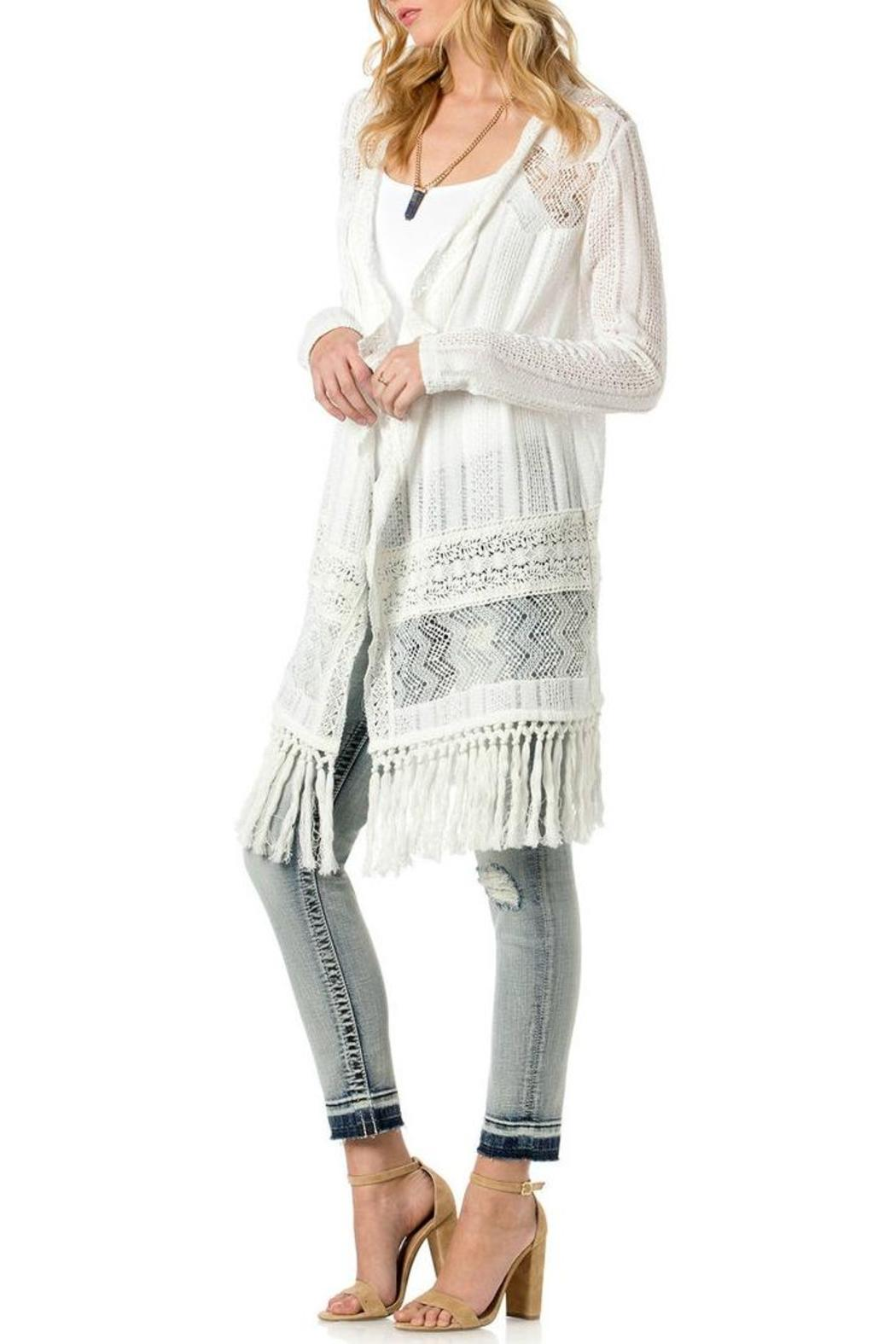 Miss Me White Fringe Cardigan - Back Cropped Image - Miss Me White Fringe Cardigan From North Shore By Assets Jean Co