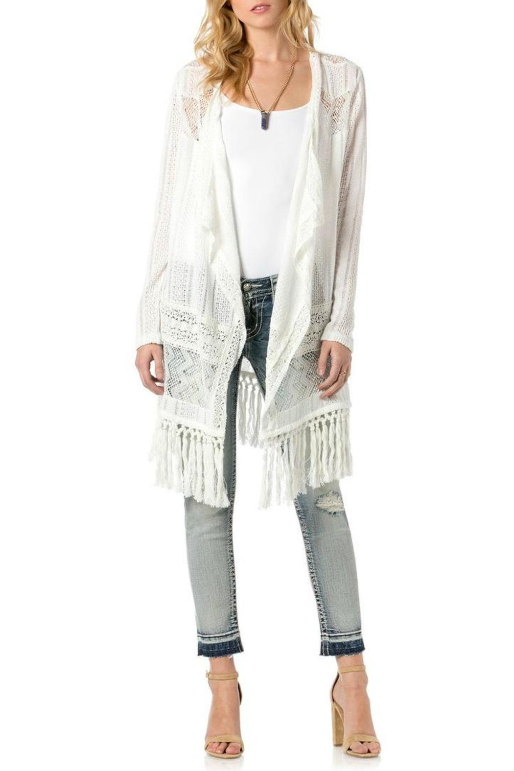 Miss Me White Fringe Cardigan - Front Cropped Image - Miss Me White Fringe Cardigan From North Shore By Assets Jean Co
