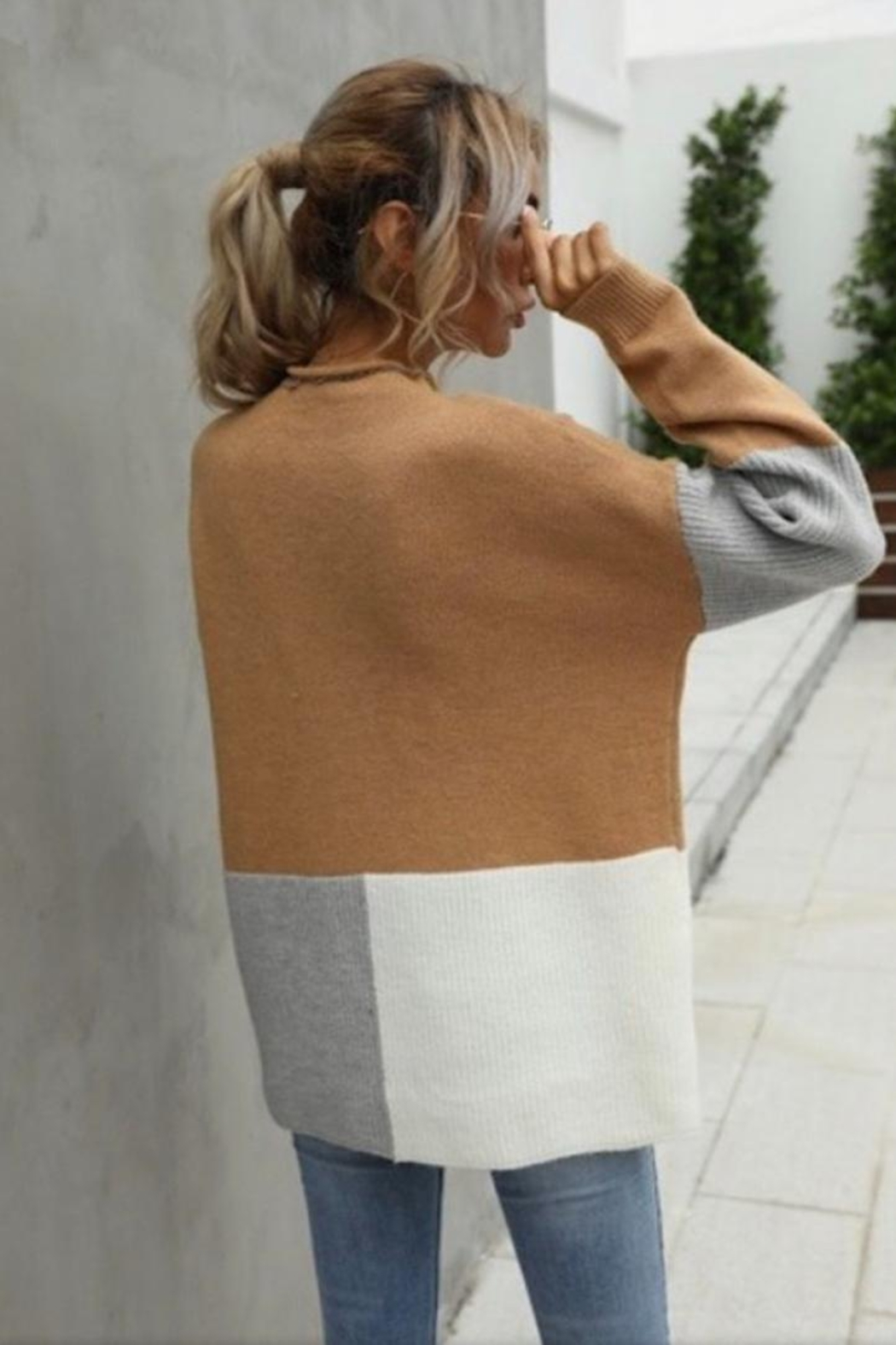 Miss SaSa Color Block Sweater - Front Full Image