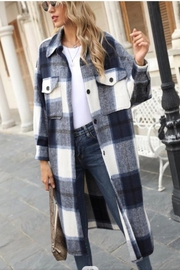 Miss Sparkling Long Plaid Jacket - Front cropped