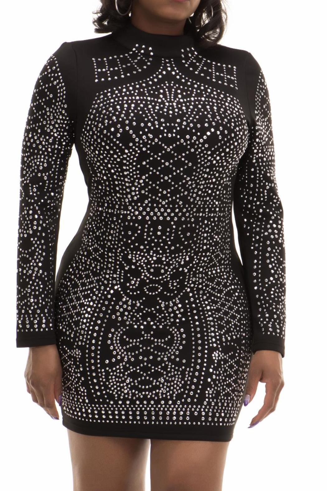 MISSORD Black Studded Dress - Front Cropped Image