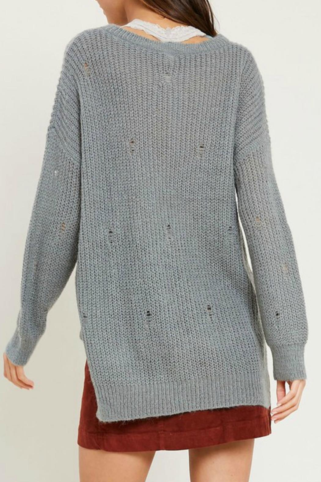 Wishlist Missy Distressed Sweater - Back Cropped Image