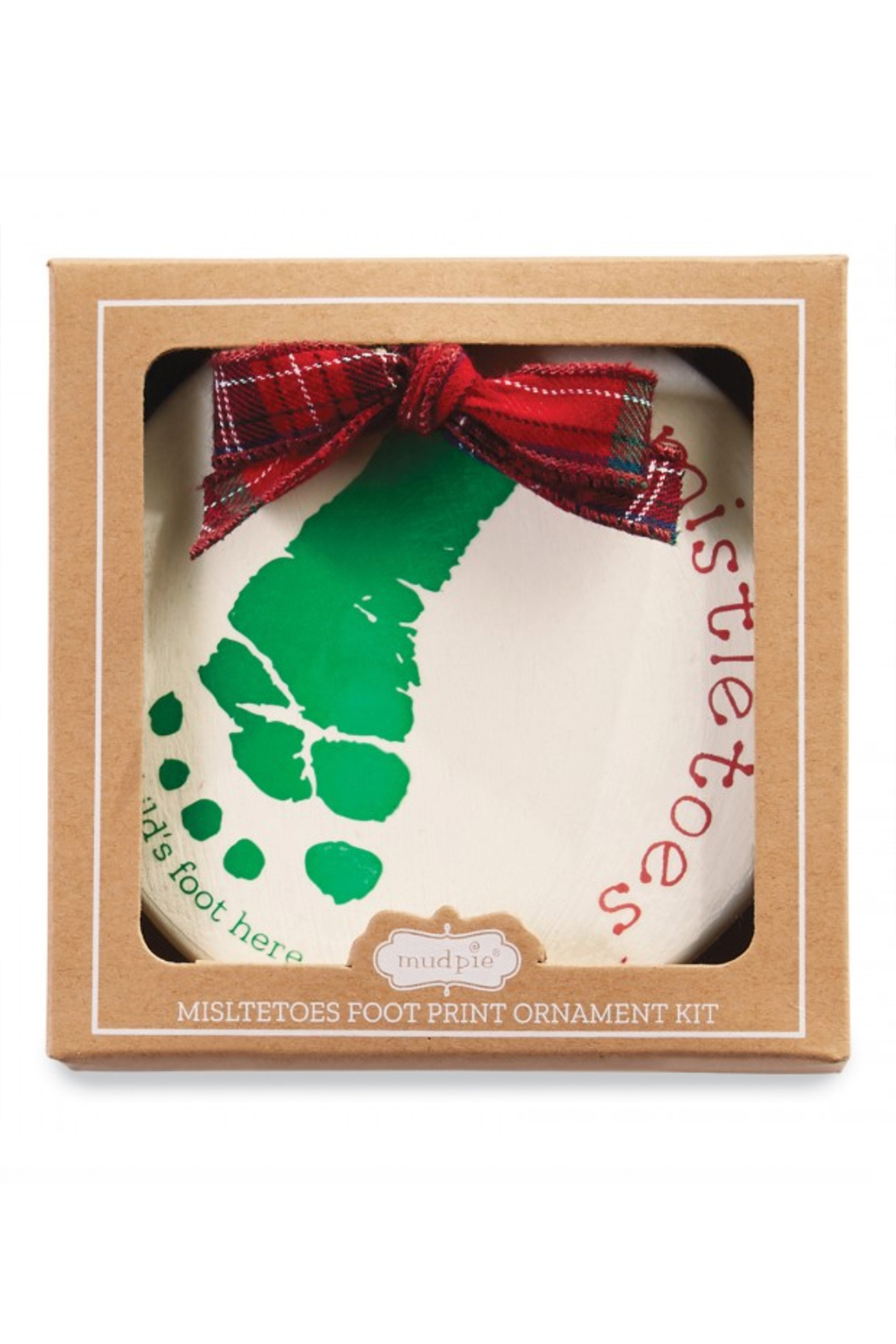 MudPie Mistletoes Foot Print Ornament Kit - Front Full Image