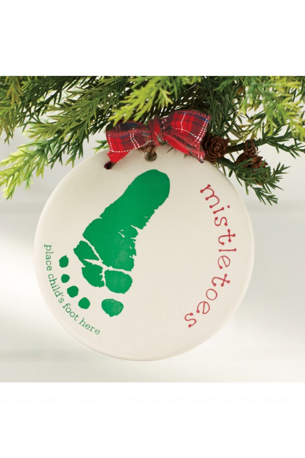MudPie Mistletoes Foot Print Ornament Kit - Front Cropped Image