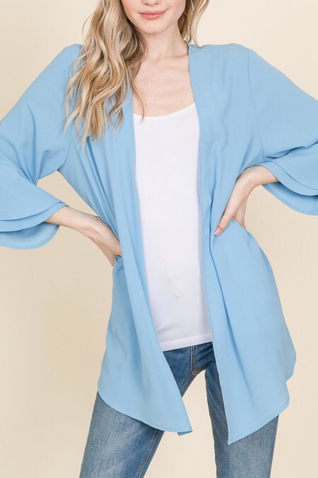 Racheal Misty Blue Cardigan - Front Cropped Image